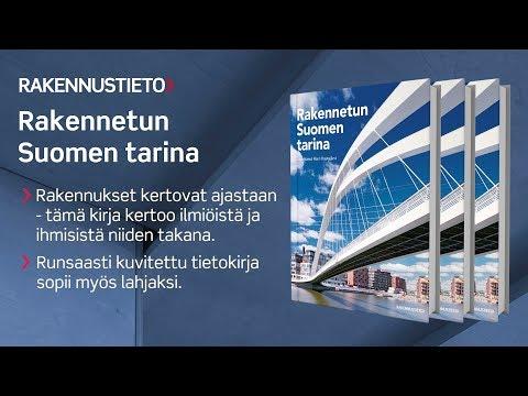 Rakennetun Suomen tarina -kirjan esittelyvideo. Monipuolinen, runsaasti kuvitettu tietokirja kertoo, miten yhteiskunta ja rakentaminen ovat vaikuttaneet toisiinsa 1800-luvulta nykypäiviin. Kirja liittää ensimmäistä kertaa yhteen arkkitehtuurin, rakentamisen, kaupunkisuunnittelun ja infrastruktuurin osana Suomen historiaa.