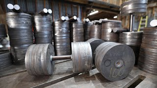Dumbbell Set from Scrap Metal   10-100 lbs, Flat Bench, and Rack