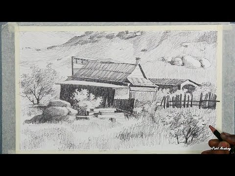 Landscape Drawing in Pencil | step by step pencil strokes techniques