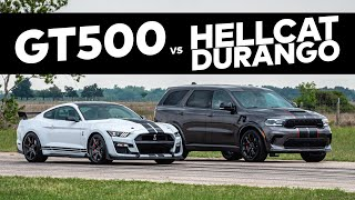 Hellcat Durango vs Mustang GT500 // DRAG RACE COMPARISON!