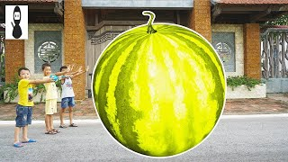 Kids Go To School Play Selling Ice Cream Giant Yellow Melon w/ Kids ABC Song Childrens HD Vlad 2018