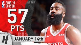 James Harden CRAZY Highlights Rockets vs Grizzlies 2019.01.14 - 57 Points, MVP!