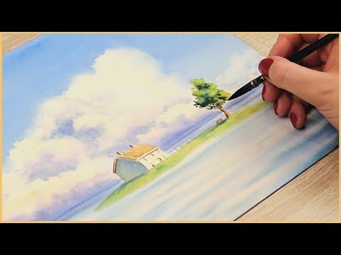 Painting Studio Ghibli Scene With Watercolor - Paint With Me!