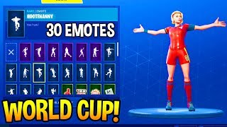 *NEW* FORTNITE WORLD CUP SKIN with 30+ DANCE EMOTES!!