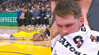 D'Angelo Russell Scary Injury After Collision With Luka Doncic! Mavericks vs Warriors