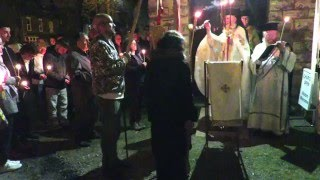 Christ is Risen! Pascha - on arriving back at the Church door.