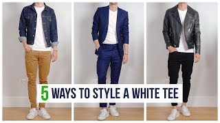 5 Easy Ways to Style a White T-Shirt   Men's Spring Fashion   OneDapperStreet