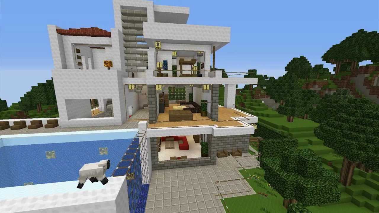 minecraft modern villa build with invading sheeps  youtube