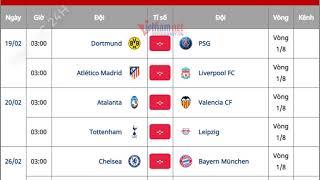 Lịch thi đấu vòng 1/8 Champions League 2019/2020