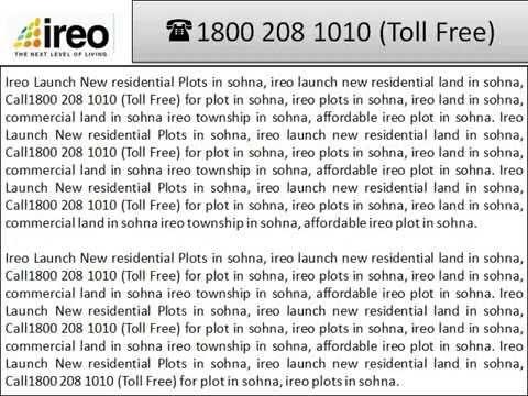 Ireo Plots in Sohna, Ireo Land Sohna @18002081010