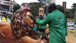 Nairobi county replaces lion statute at the University Way roundabout