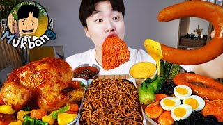 ASMR MUKBANG 짜파게티 & 팽이 버섯 & 소세지 BLACK BEAN NOODLES & ENOKI MUSHROOM & SAUSAGE EATING SOUND!