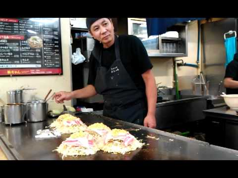 Master Hiroshima Okonomiyaki Chef Making Art