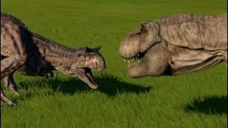Jurassic World Evolution - Carnotaurus vs Tyrannosaurus Rex (1080p 60FPS)