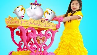 Emma Play with Disney Princess Belle Musical Tea Party Cart