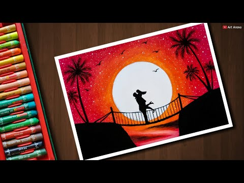 How To Draw Blue Moonlight Scenery With Oil Pastels Step By Step