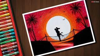 Couple on Bridge scenery drawing with Oil Pastels - step by step