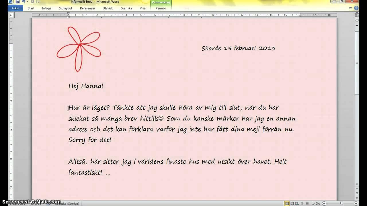 informellt brev sfi