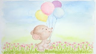 Happy Fun Upbeat Mood Uplifting Kids Playtime Music | Baby Bear Balloons Watercolor