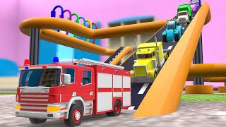 Learn Colors for Children with Street Vehicle Spray Coloring Multi Level Track Parking 3D Cars Kids