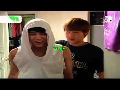 Leader Gyu waking Infinite members up