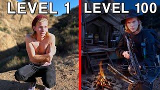 Level 1 vs Level 100 Survivalist! *SOLO OVERNIGHT SURVIVAL*