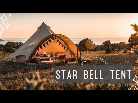 Boutique Camping 5m Sandstein Stern Rundzelt mit Reißverschluss befestigter Bodenplane