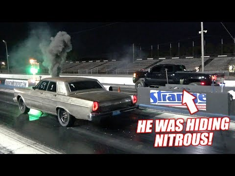 Duramax Dually CALLS OUT Our Cummins Powered Galaxie! (Our Fastest Pass Yet!)