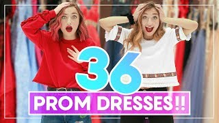 WE TRiED ON 36 PROM DRESSES! Can You Guess Our Favorites? #Prom