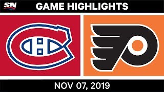 NHL Highlights | Canadiens vs. Flyers – Nov. 07, 2019