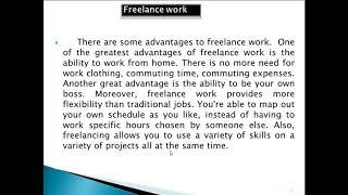 paragraph about freelance pros and cons مميزات وعيوب العمل الحر
