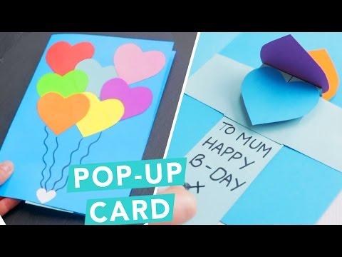 pop up karte basteln mit papier herz regenbogen diy karte bastelideen geschenke selber. Black Bedroom Furniture Sets. Home Design Ideas