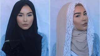 2 Hijab Styles With Patterned Borders