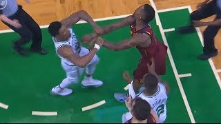 JR Smith And Marcus Smart Scuffle! Cavaliers vs Celtics Game 2 - 2018 NBA Playoffs