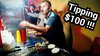 AWESOME Mexican Street Food – The BEST Taco, Burger & Hot Dog Stand - $100 dollar TIP At The End!!