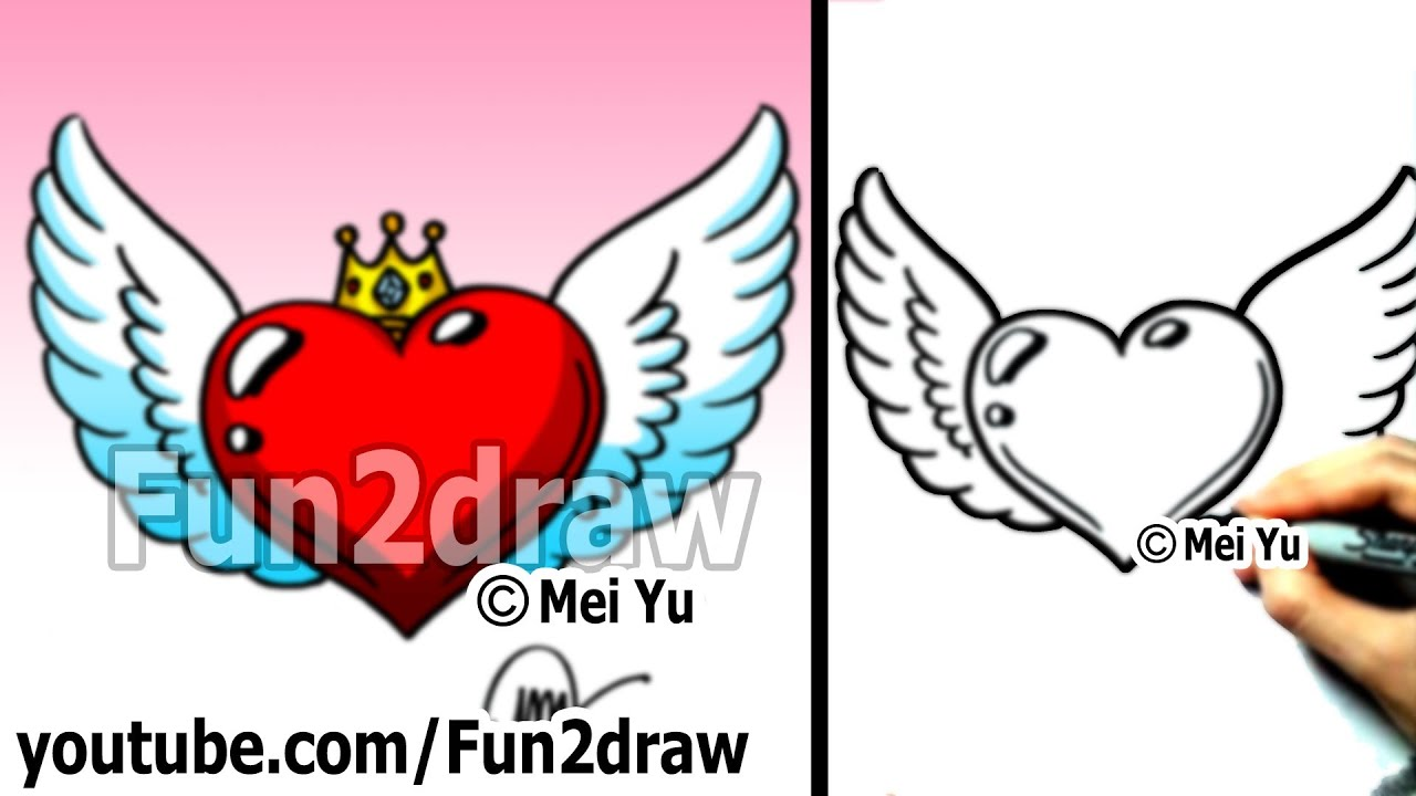 How to Draw a Heart with Wings and Crown (easy drawing ...