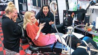 Corinna Kopf Gets A KKandbabyJ Tattoo!!!