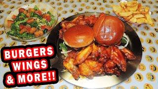 Lake Monster Food Challenge w/ Bacon Burgers & Jumbo Wings!!