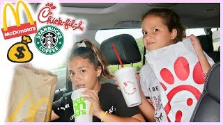 Letting the PERSON in FRONT Of US decide WHAT WE EAT for a DAY  | SISTER FOREVER