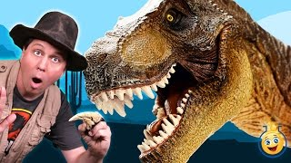 Giant T-Rex Dinosaur & Raptor at the Grand Canyon! Park Ranger Aaron in Jurassic Adventure