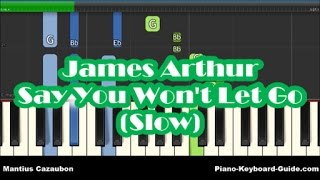 James Arthur - Say You Won't Let Go SLOW Piano Tutorial - Easy Chords & Melody