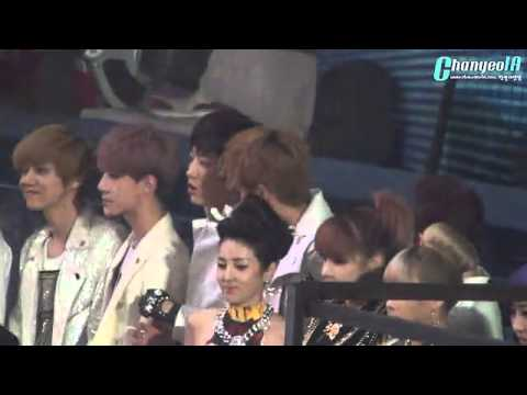 [FANCAM] 121229 Chanyeol fanboy-ing over 2NE1 (SBS Gayo Daejun)