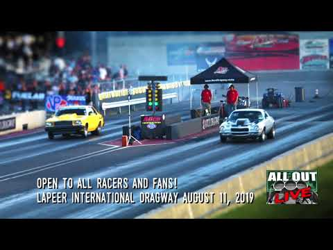 """All Out Live - Coming to Lapeer International Dragway on August 11, 2019. Reaper from Street Outlaws on the Discovery Channel, AKA James Goad, will bring on the thunder to excite local fans. Reaper will debut in, """"Out Of Time No Prep,"""" August 2nd through the 4th."""