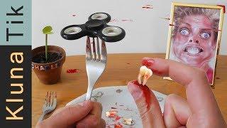 FIDGET SPINNER TRICK GOES WRONG! Kluna Tik Dinner #67 | ASMR eating sounds no talk