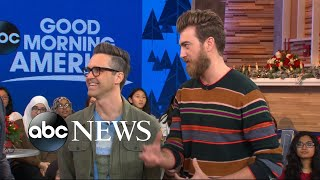 YouTube Stars Rhett and Link taste test unique gingerbread avocado toast, scrambled eggnog