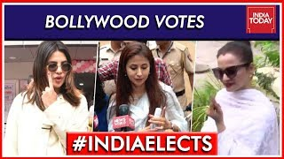 Bollywood stars come out to vote in Mumbai..