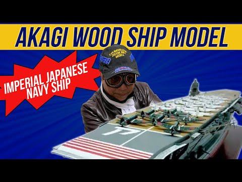 IJN Aircraft Carrier Akagi Model impressive custom-made from wood, assembled by hand