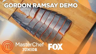 Gordon Ramsay Demonstrates How To Filet A Salmon | Season 2 Ep. 6 | MASTERCHEF JUNIOR