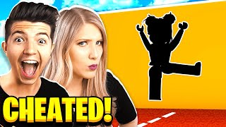 I CHEATED! BOY vs GIRL ROBLOX HOLE IN THE WALL CHALLENGE!