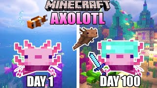 I Survived 100 DAYS as an AXOLOTL in HARDCORE MINECRAFT... Here's what happened